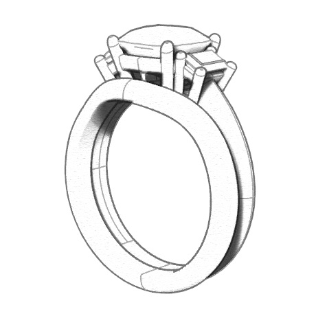 Sketch of Custom Sapphire Ring Idea