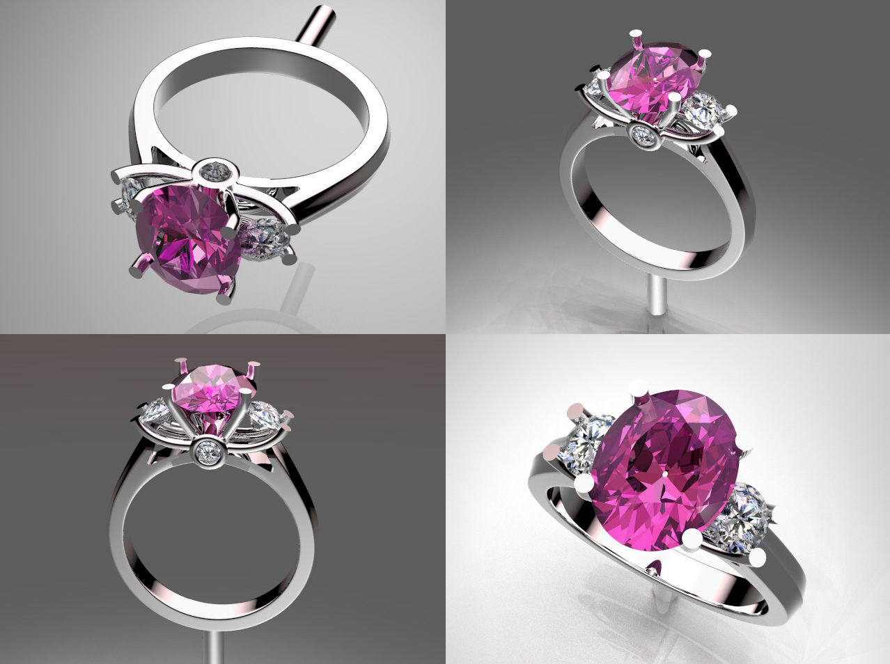 Custom Natural Pink Sapphire Ring with Diamond Accent Stones