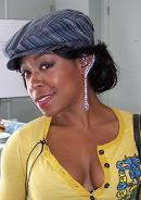 Tachina Arnold wearing blue sapphire and diamond earrings