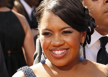 Grey's Anatomy's Chandra Wilson in brilliant blue sapphire and diamond briolette drop earrings at the Emmy Awards