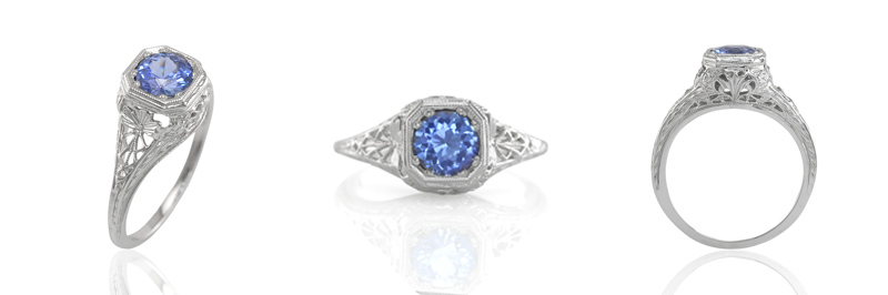 blue sapphire ring view 3 - Vintage Wedding Rings 1920
