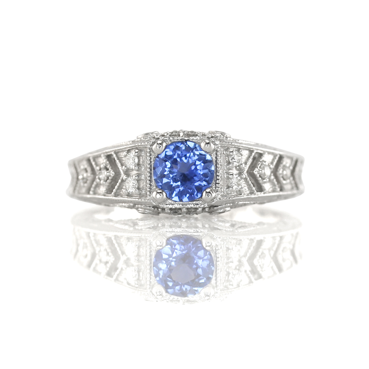 Pale Blue Sapphire And Diamond Ring