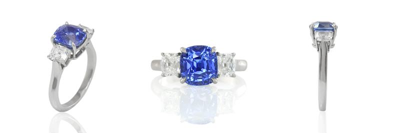 Custom Three Stone Sapphire Ring