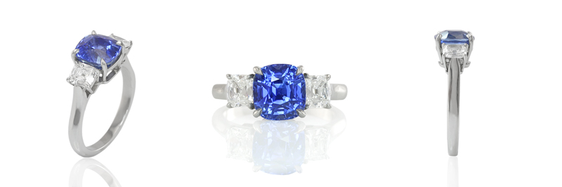 Natural Untreated Blue Sapphire Engagement Ring