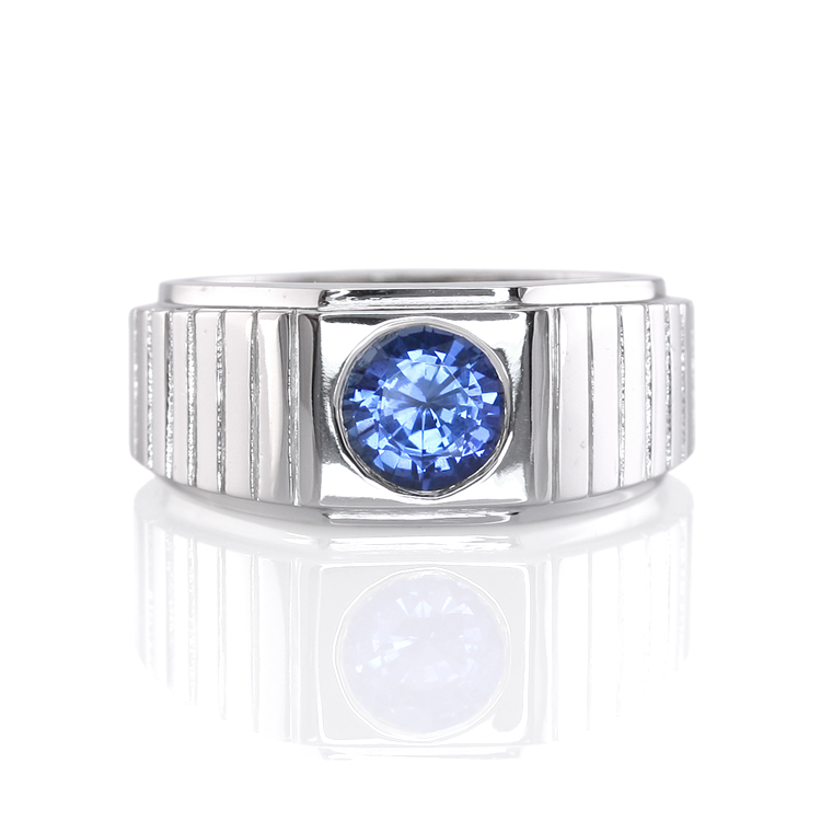 Natural Untreated Blue Sapphire Mens Ring