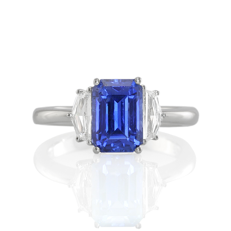 Natural Untreated Blue Sapphire Three Stone Ring with Diamonds