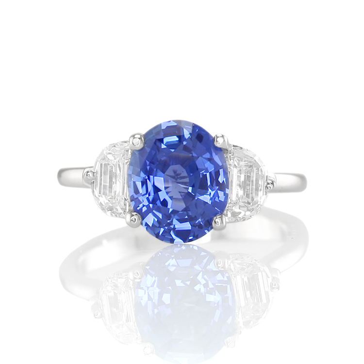 Custom Natural Untreated Blue Sapphire Three Stone Ring