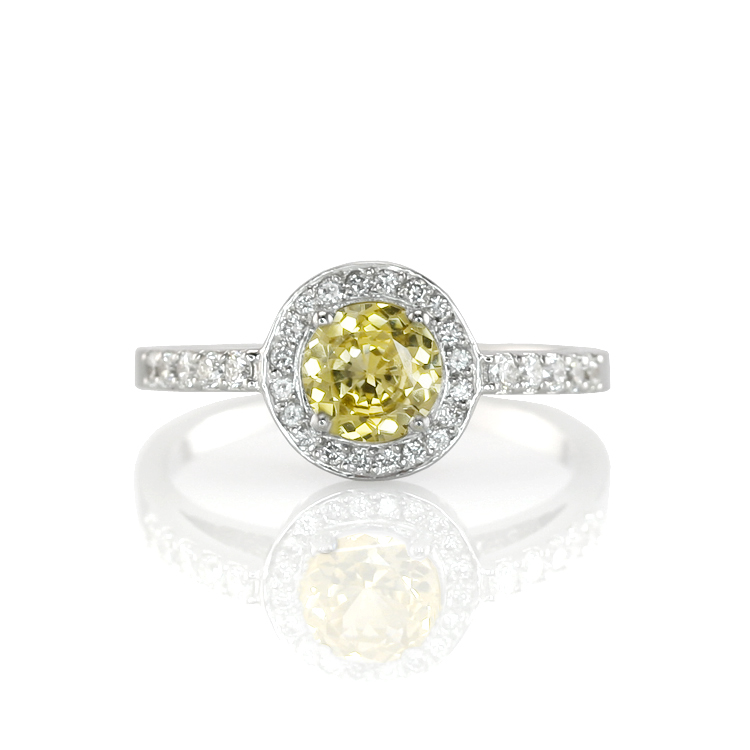 Natural Untreated Yellow Sapphire Ring with Pave Diamonds