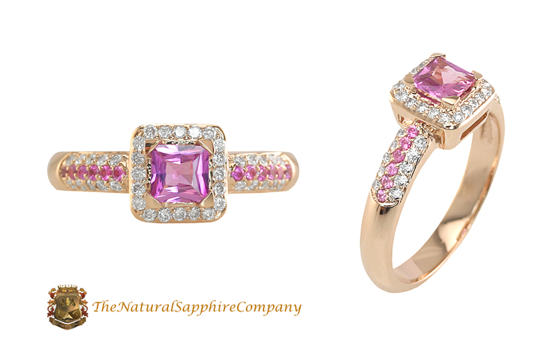 natural untreated princess cut pink sapphire ring with