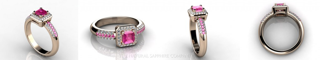 Custom Natural Untreated Pink Sapphire Ring with Pave Set Diamonds and Pink Sapphires