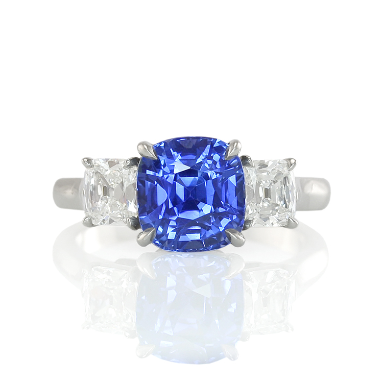 Natural Untreated Blue Sapphire Ring with Diamonds