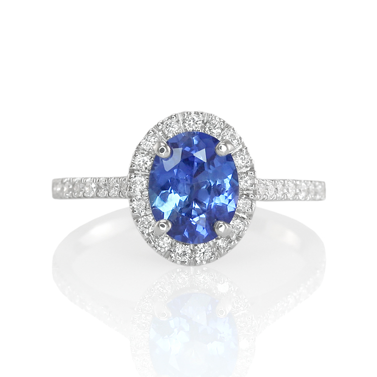 Natural Untreated Blue Sapphire Ring with Pave Diamonds
