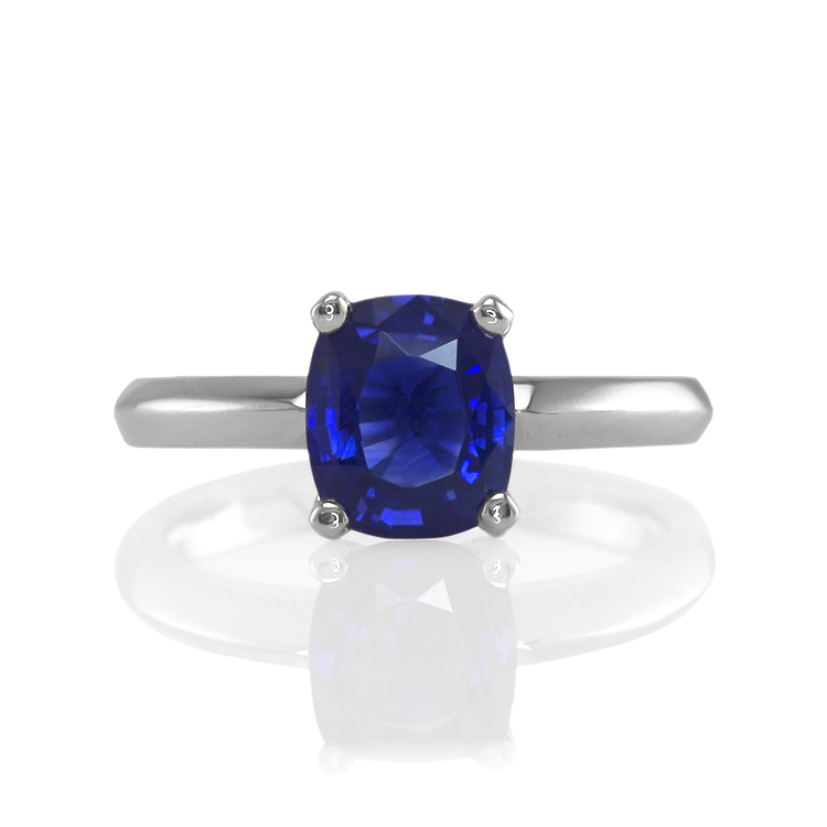 Natural Untreated Blue Sapphire Solitaire Ring