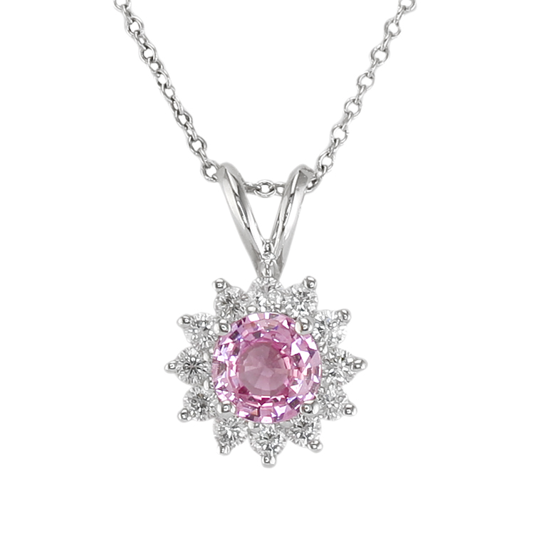 necklace diamond pink ct sterling silver sapphire heart and pendant other i