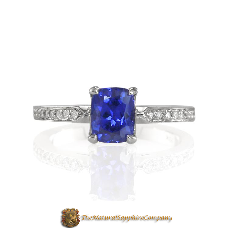 Beautiful Natural Untreated Blue Sapphire Engagement Ring with Pave Diamonds