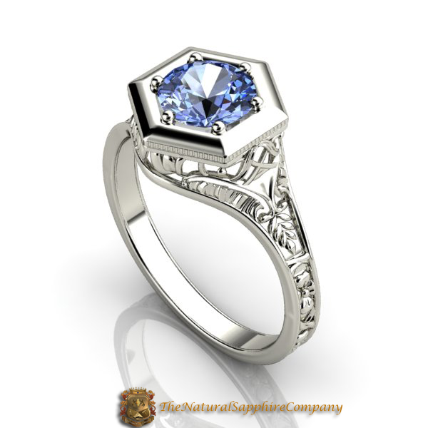 Custom Mounting with a Natural Untreated Blue Sapphire