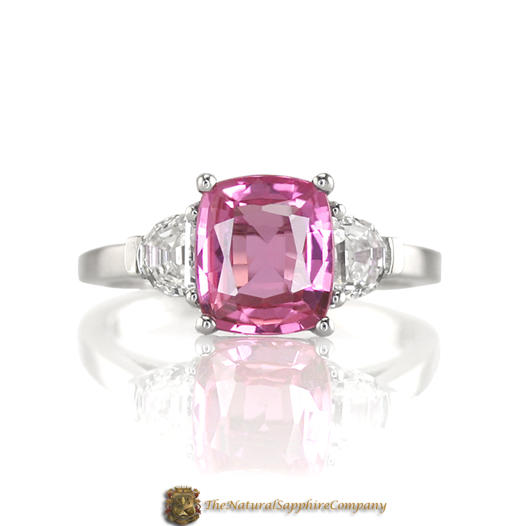 Natural Untreated Pink Sapphire Engagement Ring