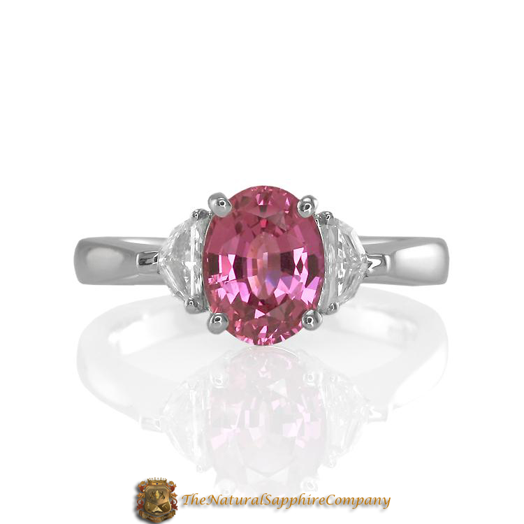 Natural Untreated Pink Sapphire Engagement ring with Diamond Side Stones