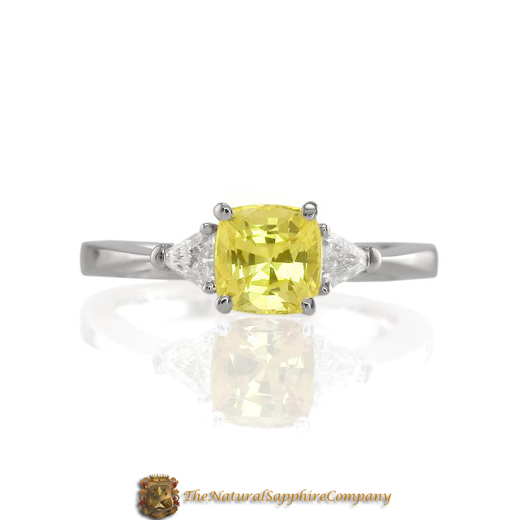 Natural Untreated Yellow Sapphire Three Stone Ring with Diamonds