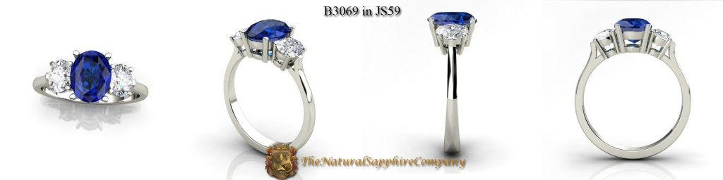 Custom Natural Untreated Blue Sapphire Ring with Oval Diamonds