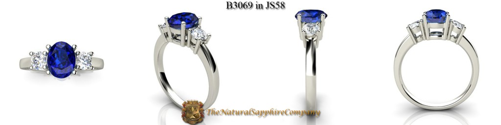Custom Natural Untreated Blue Sapphire Ring with Round Diamonds