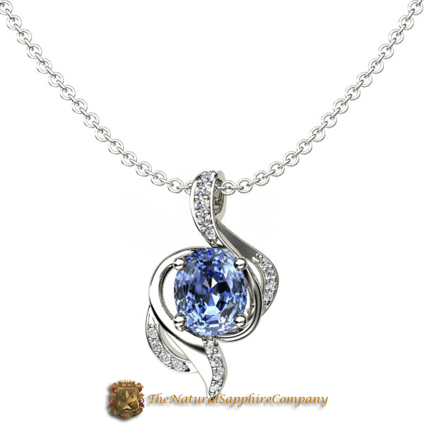 necklace diamond saphire carat oval pendant blue solitaire handmade white gold sapphire