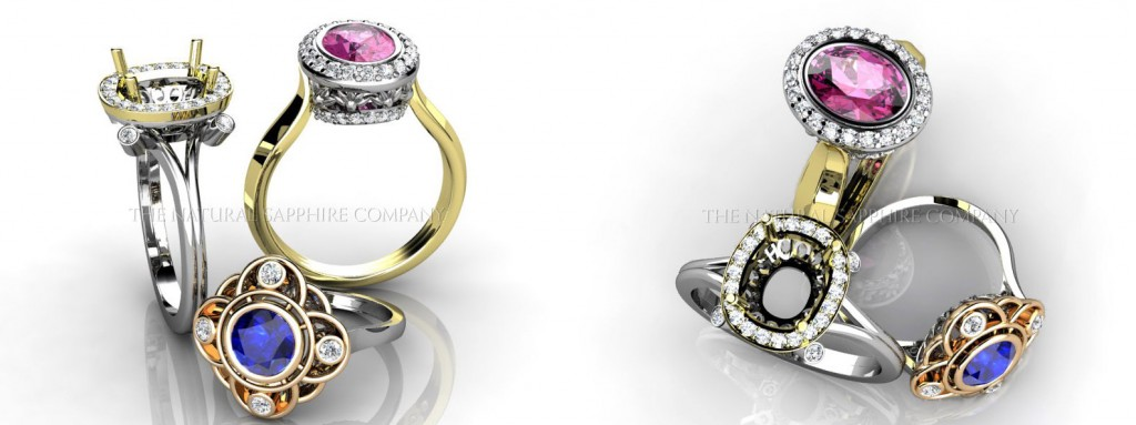 Elegant Two-Tone Natural Untreated Blue and Pink Sapphire Rings