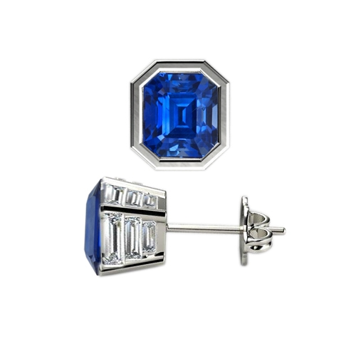 Natural Untreated Emerald Cut Blue Sapphire Earrings With Twelve Baguette Diamonds