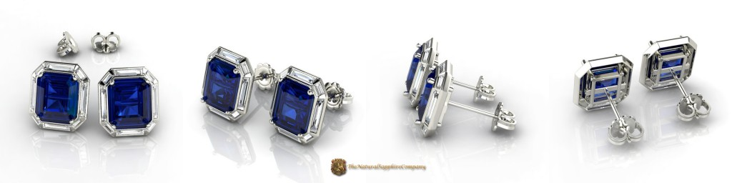 Natural Untreated Emerald Cut Blue Sapphire Earrings with Eight Baguette Diam0nds