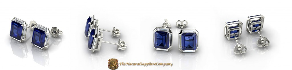 Natural Untreated Emerald Cut Blue Sapphire Earrings