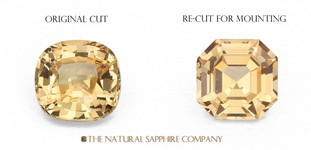 Natural Untreated Orange Sapphire Recut to Asscher Cut