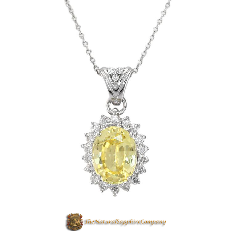 Stunning Natural Untreated Yellow Sapphire Pendant with Pave Diamonds