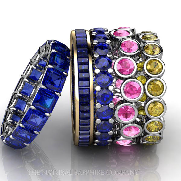 Elegant custom natural untreated blue, yellow, and pink sapphire wedding bands