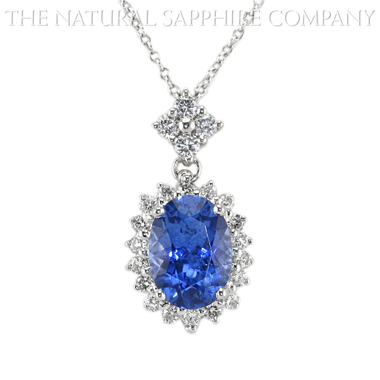 Natural Untreated Blue Sapphire Pendant with Diamonds