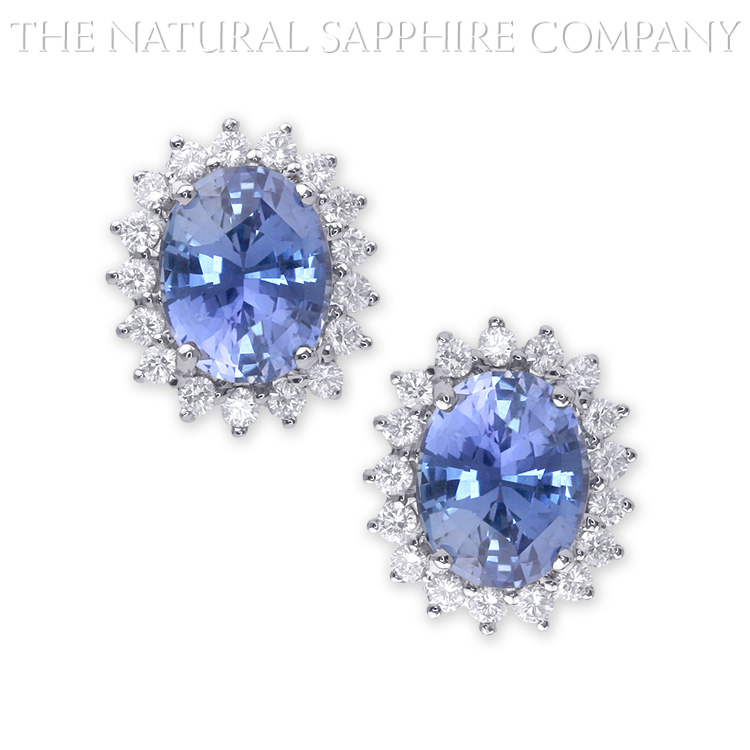 Natural Untreated Blue Sapphire Earrings with Diamonds