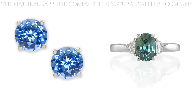 Natural Untreated Blue Sapphire Earrings and Natural Untreated Blue Green Sapphire Ring