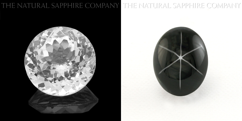 Natural White Sapphire and Natural Untreated Black Star Sapphire