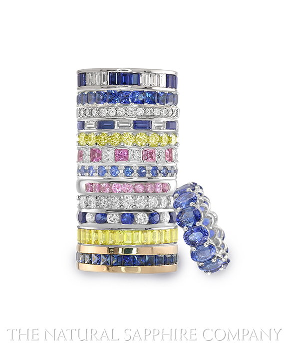 Natural Sapphire Anniversary Bands