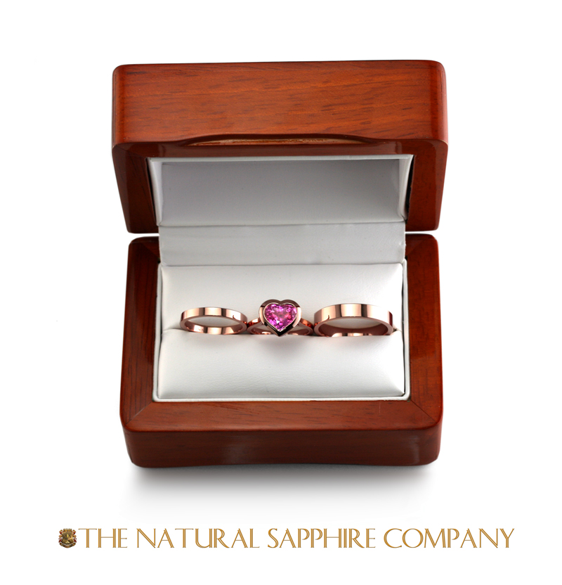 pink sapphire jewelry custom settings with packaging