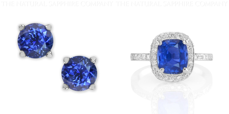 blue sapphire earrings and rings