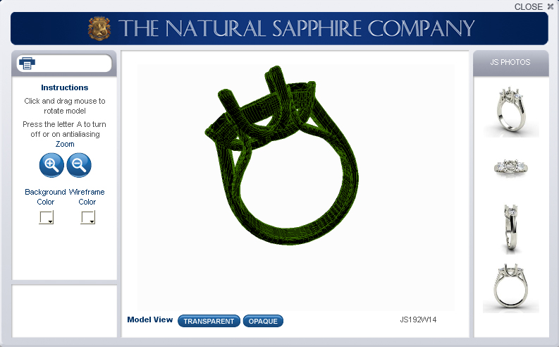 3D view of a sapphire ring setting