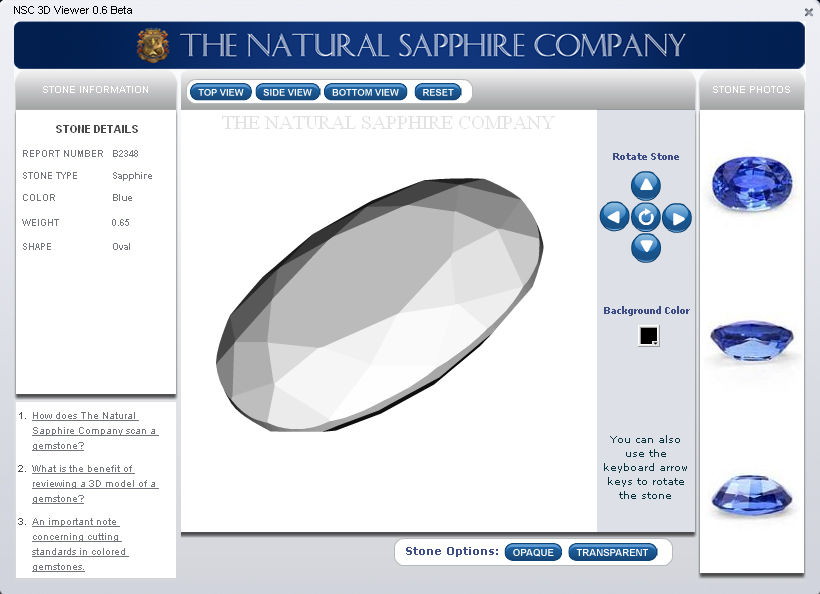 3D view of a sapphire
