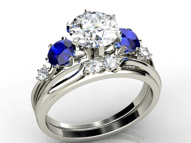 diamond and sapphire wedding ring set - Sapphire Wedding Rings