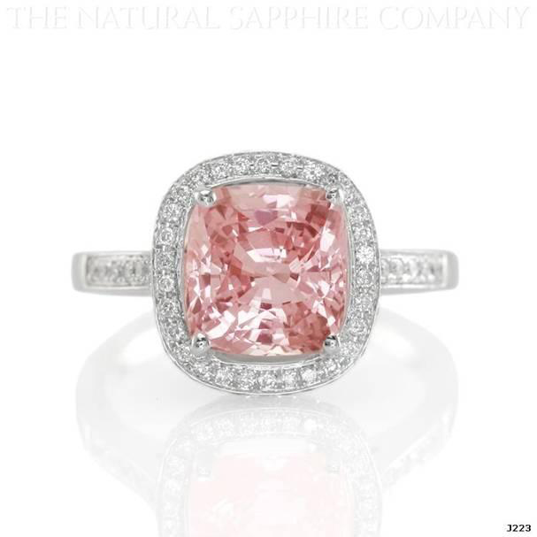 Natural Padparadscha Sapphire Pave Ring