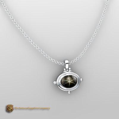 custom black star sapphire pendant