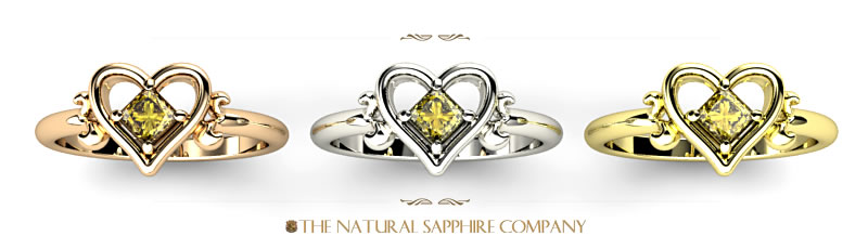 heart shaped yellow sapphire rings in rose, white and yellow gold