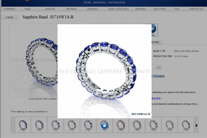 rendered image of a blue sapphire wedding band
