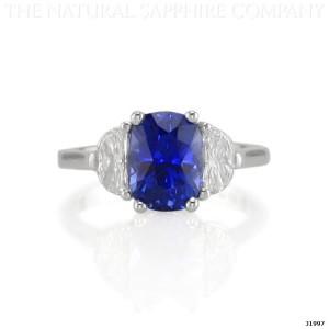 blue sapphire ring in palladium