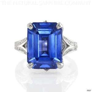 blue sapphire ring in platinum