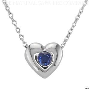 heart shaped blue sapphire pendant